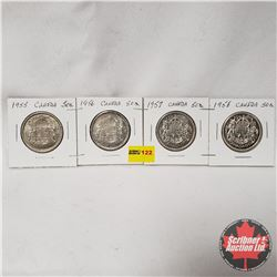 Canada Fifty Cent - Strip of 4: 1955; 1956; 1957; 1958