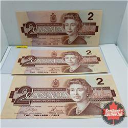 Canada $2 Bills 1986 (3): Thiessen/Crow : S/N#BBJ2871260; Crow/Bouey : ARF4882857 & ARF4882859