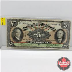 The Bank of Nova Scotia $5 Bill 1929 : Moore/McLeod S/N#3048661