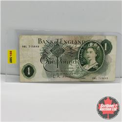 Bank of England One Pound Bill S/N#06L715649