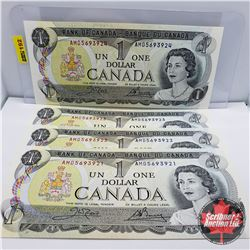 Canada $1 Bills (4 Sequential) 1973 : Crow/Bouey S/N#'s AMD5693921-22-23-24