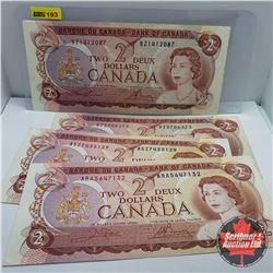 Canada $2 Bills (4) 1974 : Lawson/Bouey S/N#'s BZ1412087 & BZ2706272  Crow/Bouey S/N#'s AGZ7433129 &