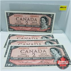 Canada $2 Bills 1954 (4 Sequential) : Lawson/Bouey S/N#'s UG5249011-12-13-14