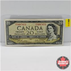 Canada $20 Bill 1954 : Beattie/Rasminsky S/N#WE3487453