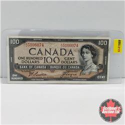 Canada $100 Bill 1954 : Beattie/Coyne S/N#AJ5106074
