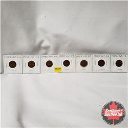 USA One Penny - Strip of 7: 1947D; 1948S; 1949D; 1950D; 1951D; 1952D; 1953D