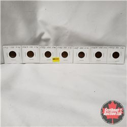 USA One Penny - Strip of 7: 1953; 1954S; 1955D; 1956D; 1957; 1958D; 1959D
