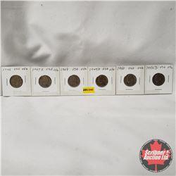 USA Five Cent - Strip of 6: 1946; 1947S; 1948; 1949D; 1950; 1952D