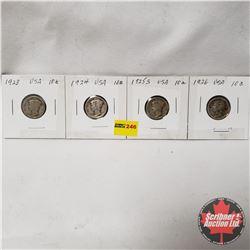 USA Ten Cent - Strip of 4: 1923; 1924; 1925S; 1926
