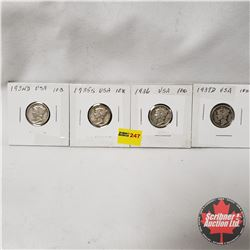 USA Ten Cent - Strip of 4: 1934D; 1935S; 1936; 1937D