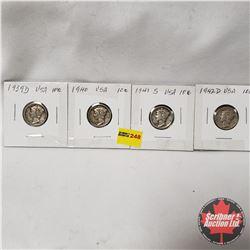 USA Ten Cent - Strip of 4: 1939D; 1940; 1941S; 1942D