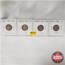 USA Ten Cent - Strip of 4: 1943; 1944D; 1945D; 1945S