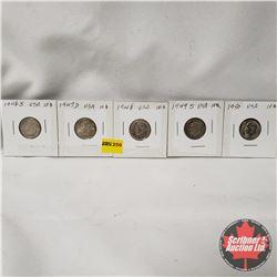 USA Ten Cent - Strip of 5: 1946D; 1947D; 1948; 1949S; 1950