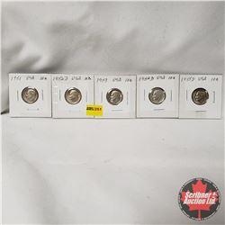 USA Ten Cent - Strip of 5: 1951; 1952D; 1953; 1954D; 1955D