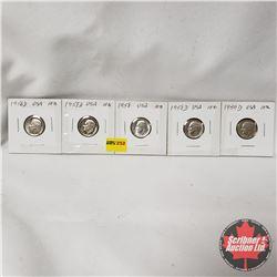 USA Ten Cent - Strip of 5: 1956D; 1957D; 1958; 1958D; 1959D
