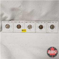 USA Ten Cent - Strip of 5: 1960D; 1961D; 1962D; 1963D; 1964D