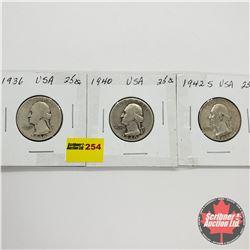 USA Ten Cent - Strip of 3: 1936; 1940; 1942S
