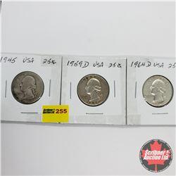 USA Ten Cent - Strip of 3: 1945; 1959D; 1964D