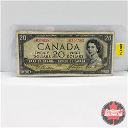 Canada $20 Bill 1954DF : Beattie/Coyne S/N#CE0396585