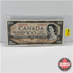 Canada $100 Bill 1954DF : Beattie/Coyne S/N#AJ1943819