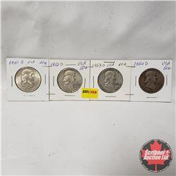 USA Half Dollar - Strip of 4: 1951S; 1952D; 1953D; 1954D