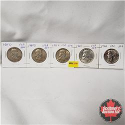 USA Half Dollar - Strip of 5: 1960D; 1961D; 1962D; 1963; 1964