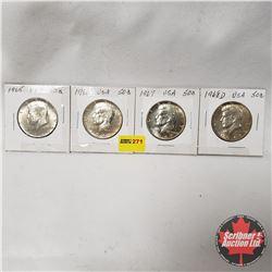 USA Half Dollar - Strip of 4: 1965; 1966; 1967; 1968D