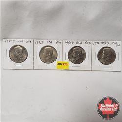 USA Half Dollar - Strip of 4: 1971D; 1973D; 1974D; 1776-1976D