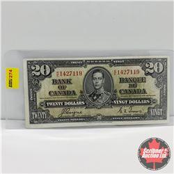 Canada $20 Bill 1937 : Coyne/Towers S/N#KE1427119