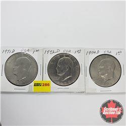 USA Eisenhower Dollar - Strip of 3: 1971D; 1972D; 1974D