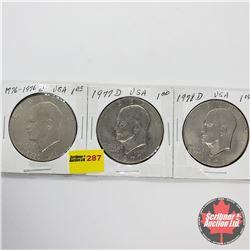 USA Eisenhower Dollar - Strip of 3: 1776-1976D; 1977D; 1978D