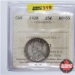 Canada Twenty Five Cent 1928 (ICCS Cert AU-55)