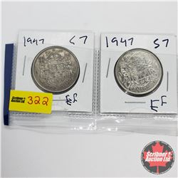 Canada Fifty Cent - Strip of 2: 1947 C7ND & 1947 S7WD