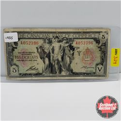 The Canadian Bank of Commerce $5 Bill 1935 S/N#A052396 C