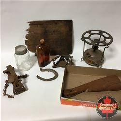 Tray Lot: Camp/Outdoor Items (Gas Stove, Black Hawk Wooden Shingle, Hawley & Norton #3 Trap, Easy-Se