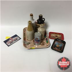 Tray Lot - Beer Theme: Ginger Beer Bottles, Challenge Root Beer Keg Plaque, Burgermeister Music Can,