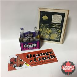"Lemon Crush Ad, Grape Crush Bottles in 6 Pack Holder, Repro Orange Crush Tin Sign (17""x6.5"")"