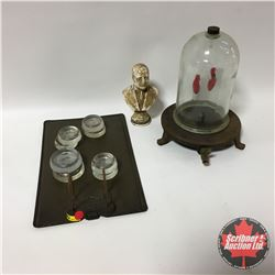 Classroom Grouping: Bunsen Burner w/Glass Dome Cover (Lab Item) & Small Bust of WM. Aberhart & Clip