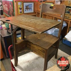 Vintage Wooden Student Desk (Drawer Missing)