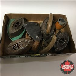 Tray Lot: Sad Irons, Trivets, Handles & Fuel Can
