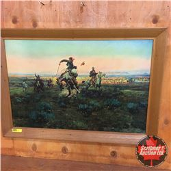 "Framed ""A Bad One"" by Charles Russell Print on Hardboard (27""Wx19""H)"