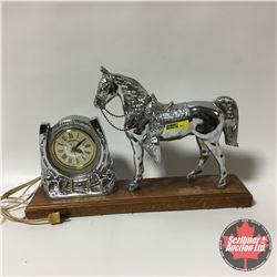 Vintage Lanshire Silver Horse Clock