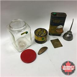 DeLaval Brass Badges in Jar & Oiler & Cream Separator Oil Tin & Bell's Iodised Udder Cerate Tin