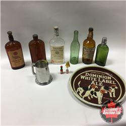 Dominion White Label Ale Tray w/Variety of Vintage Liquor Bottles & Glass Bottom Stein