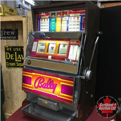 """Slot Machine: 1982 Bally 25 Cent E Series (3 Coin) Had it Working in Auction Pavilion """"One Armed Ban"""