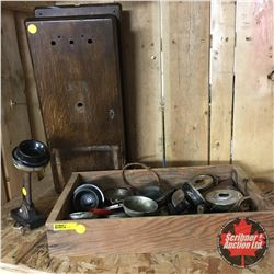 Grouping: Wooden Box w/Telephone Parts, Large Wood Phone Box