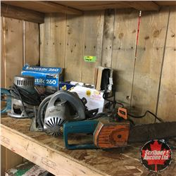 Cubby Lot - 5 Elec Tools : Glue Gun, Router, Circular Saw, Chain Saw, Drill Doctor Sharpener w/Samle