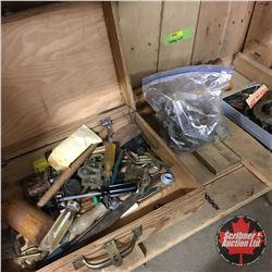 Cubby Lot - Wooden Carry Case w/Hand Tools & Hardware, Bag of Casters, Wooden Spindles, Tin Box of F