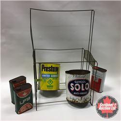 Group: Robinson Caps Display Rack w/Tins: Prestone, Solo, Delco, UFA