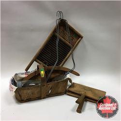 Group : Wooden Apple Basket, Wool Carder, DUBL HANDI Washboard, Sock Stretchers, Wooden Hangers, Flo